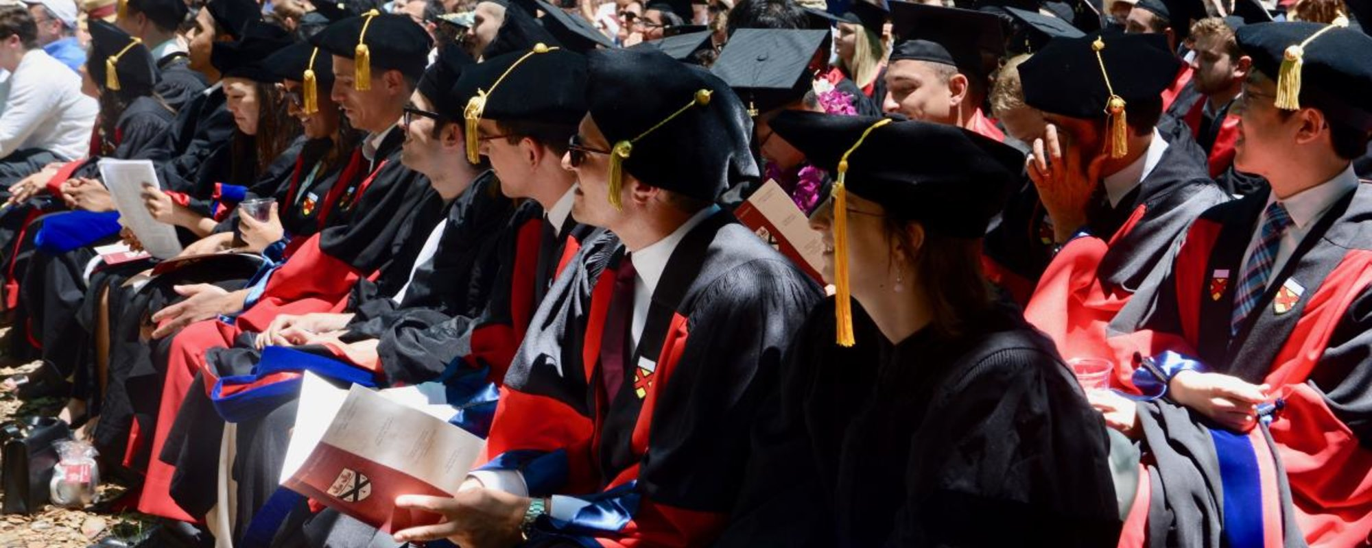 Graduates sitting in regalia, PoliSci Diploma Ceremony