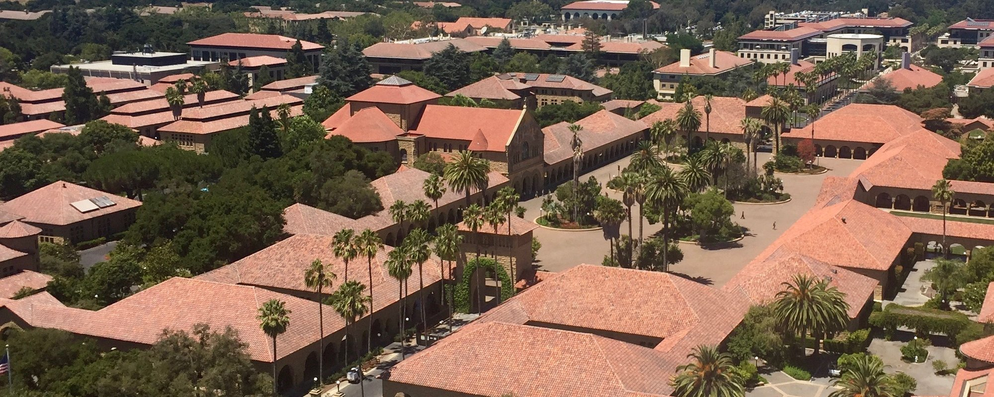 Aerial shot which includes Stanford's main quad
